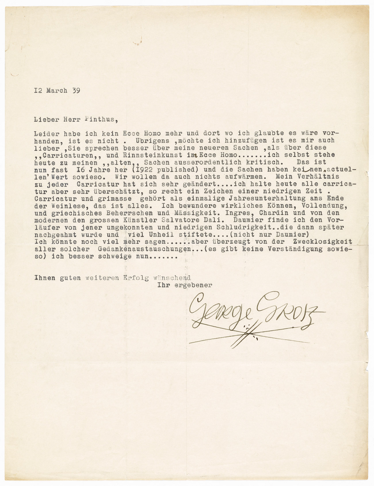 A letter typed in German and signed by George Grosz