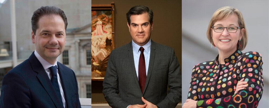 A grid of three portraits of museum directors.
