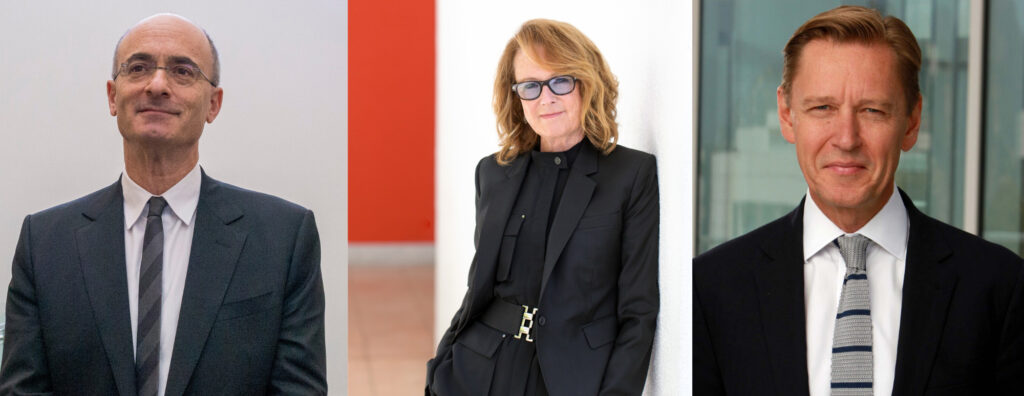 A grid of three portraits of museum directors.