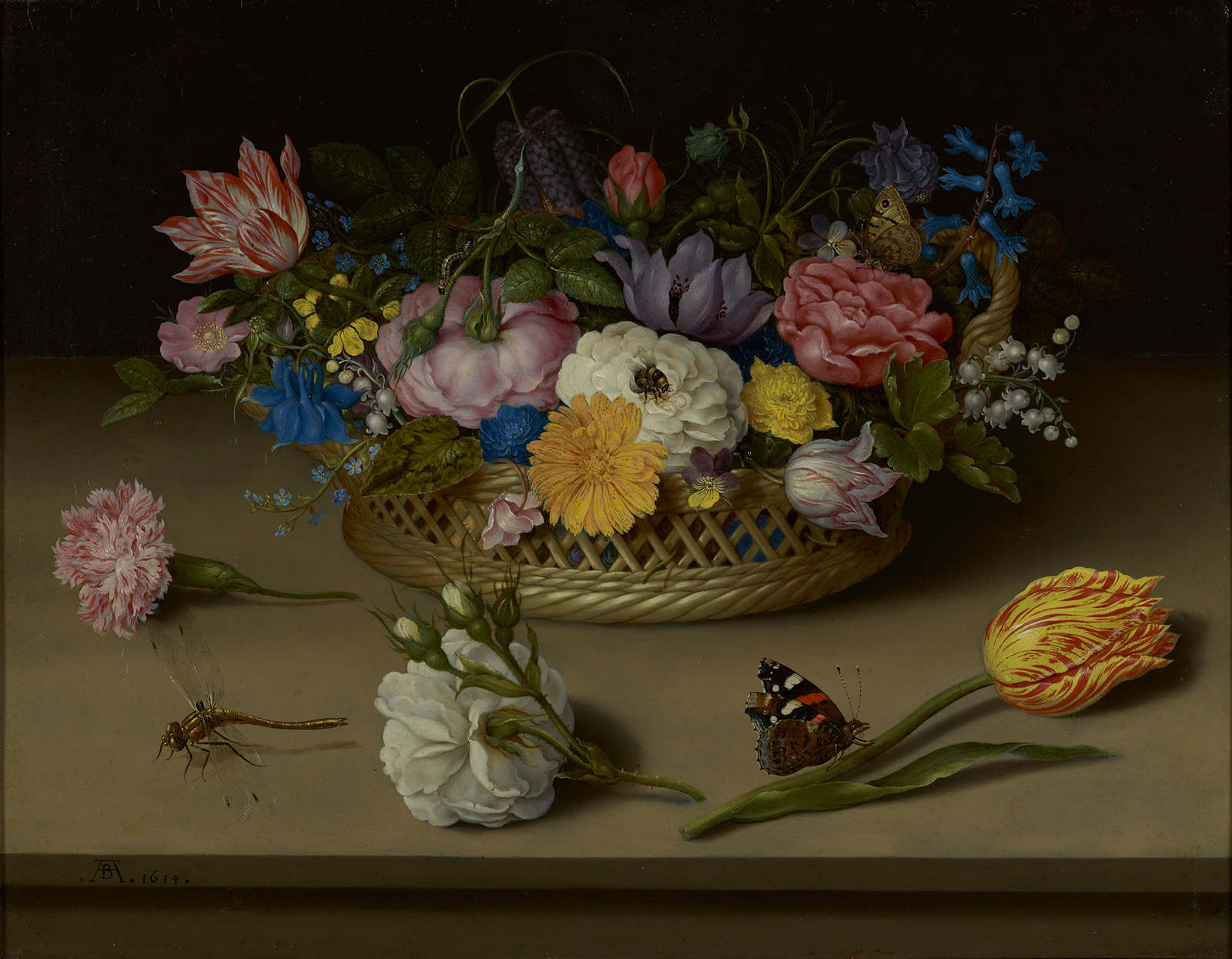 A basket of different types of flowers, in varying colors. Three stemmed flowers lie in the table in front, with a butterfly and a dragonfly.