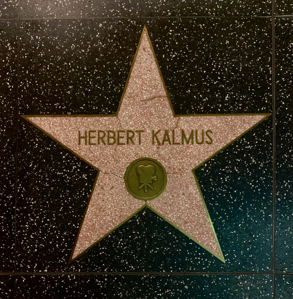Pink star with Henry Kalmus's name
