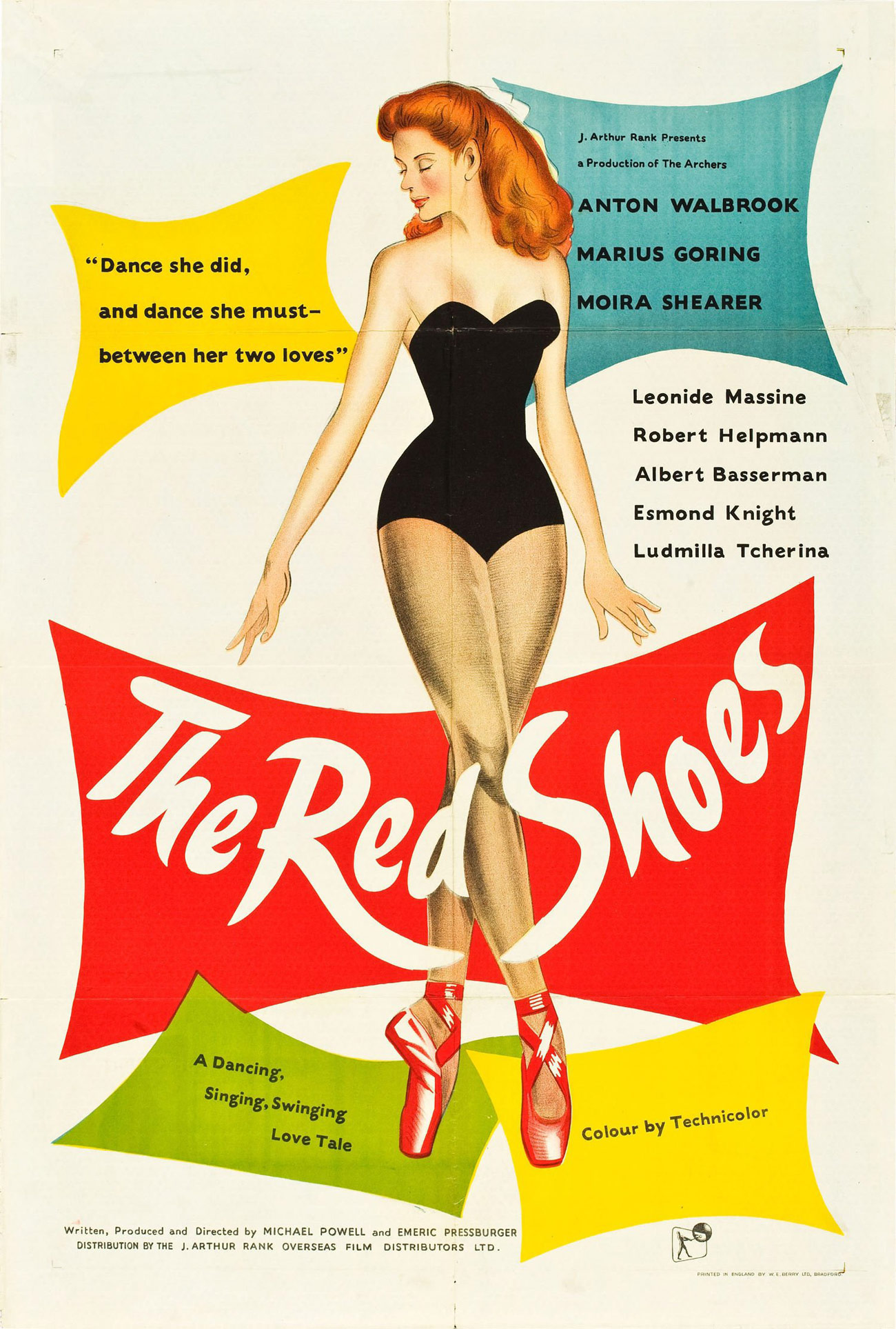 Promo poster for The Red Shoes, showing a woman in a strapless leotard and ballet shoes