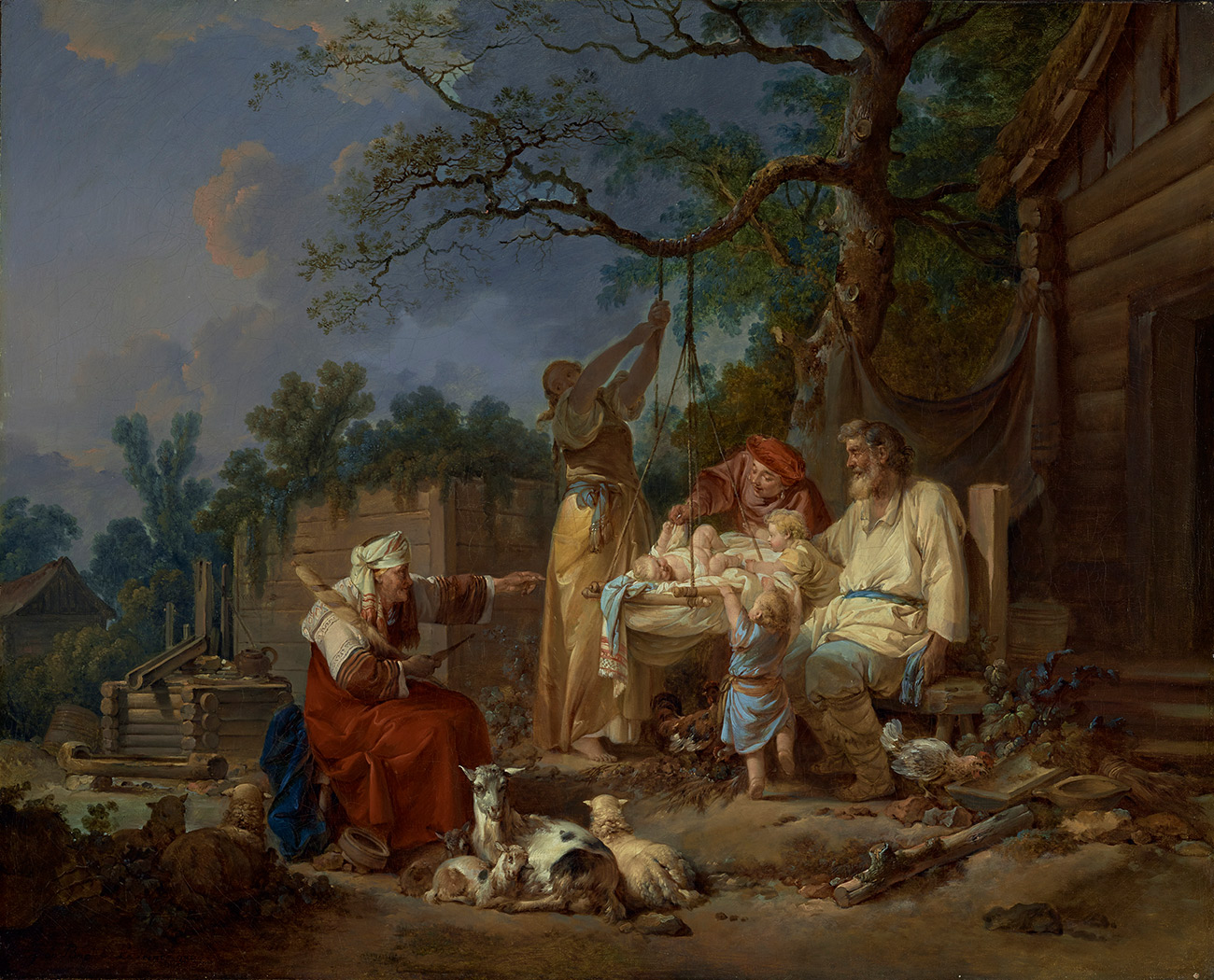 A family gathers around a baby in a cradle hanging from a tree while a woman holds the rope, and an elder woman looks on.