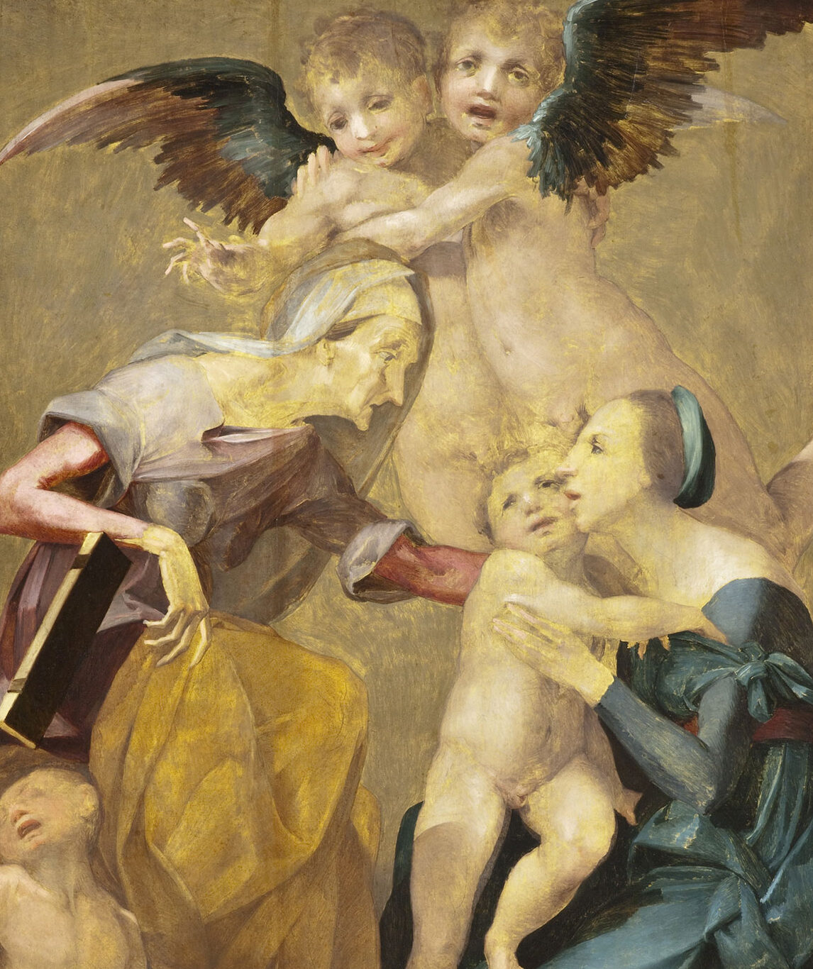 Woman holds a baby away from an older woman, and angels float above.