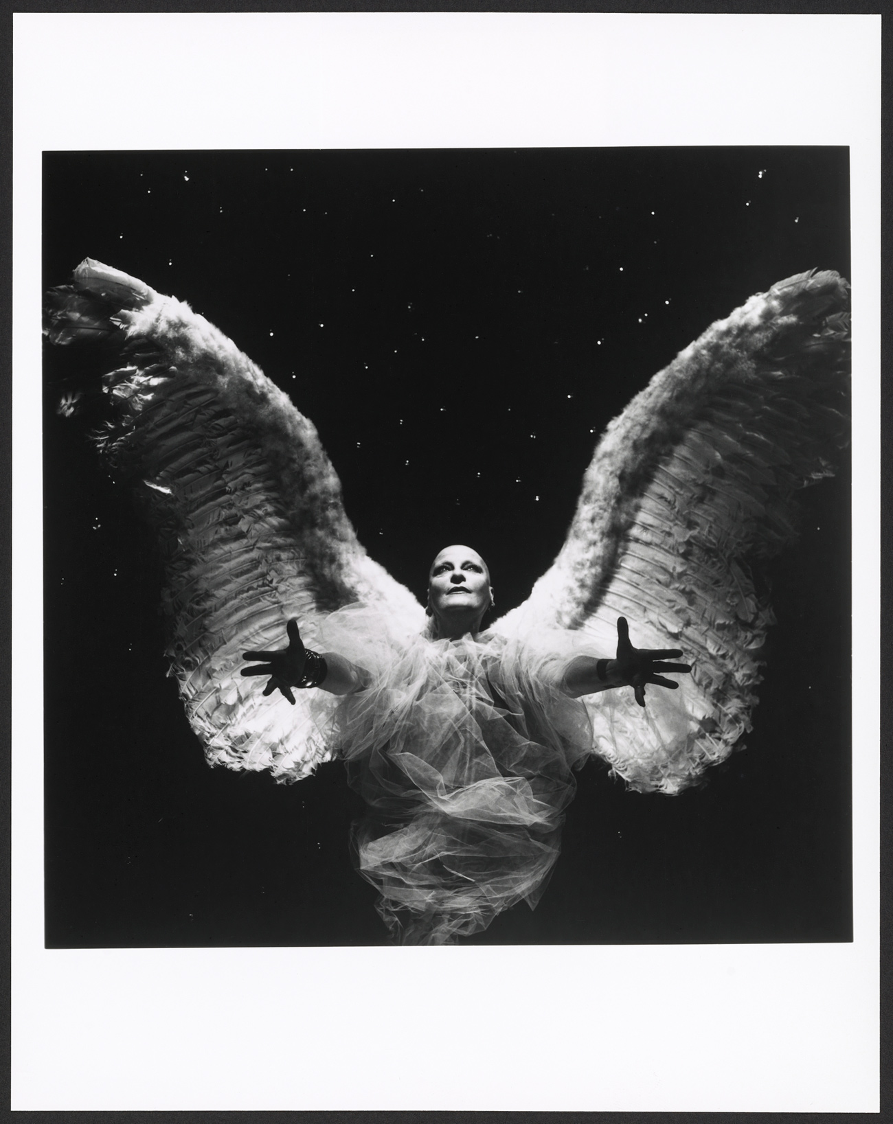 Rosenthal wears large angel wings against a stark black background