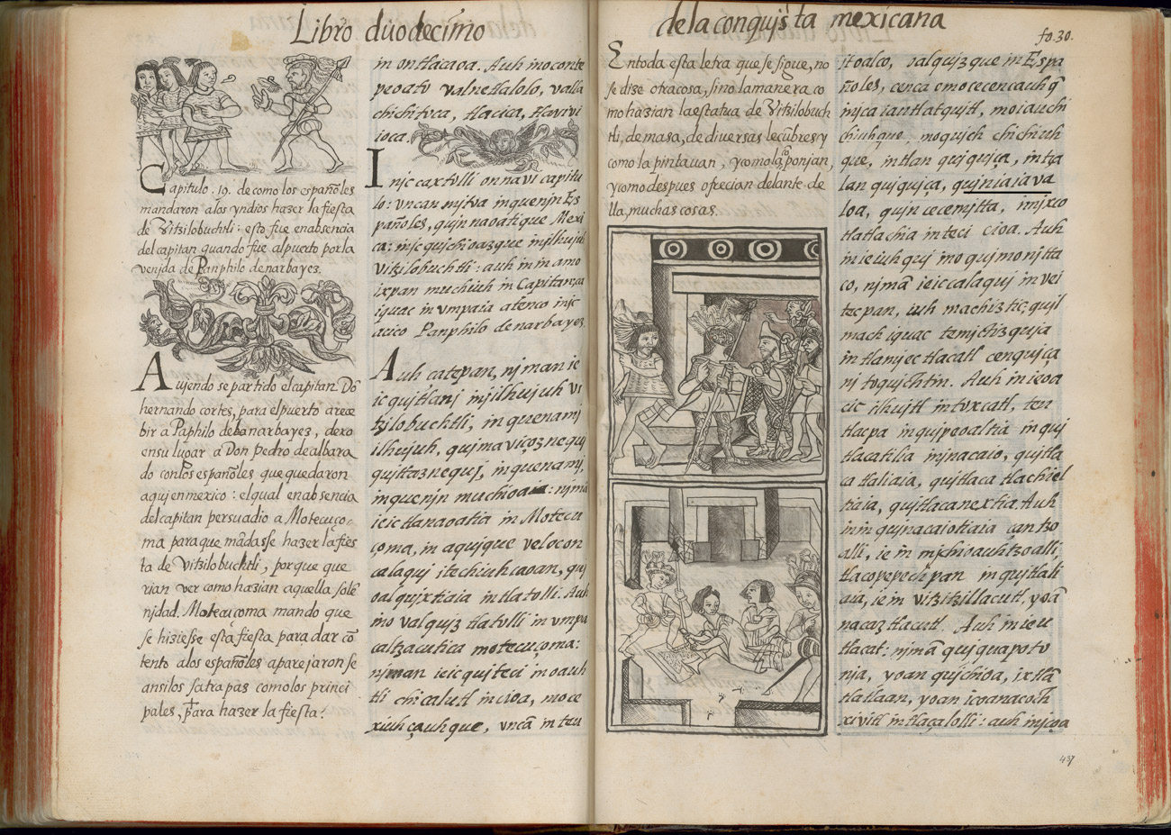 Book 12 from the Florentine Codex is opened to reveal two handwritten pages and some drawings. The drawings depict Spaniards ordering Mexicas to prepare the Toxcatl festival and female ritual practitioners preparing amaranth dough while Spanish soldiers observe their work.