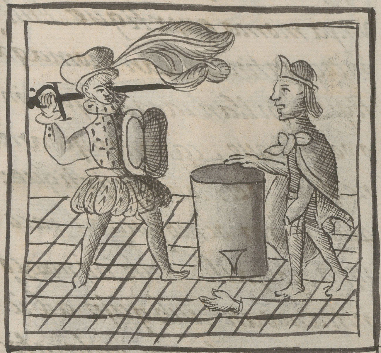 A Spaniard wearing a hat with a large plume raises his sword above a Mexica drummer, whose severed hand is lying on the ground next to his drum, in black and white drawing.