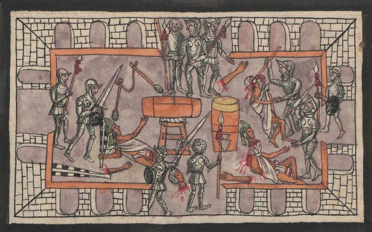 Soldiers carrying spears approach from four sides. Mexica people lie on the ground with bloody severed body parts. Two large drums are in the center, and a series of tiled archways border this colorful painting.