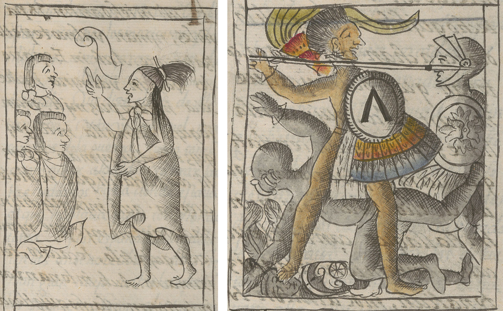 Mexica man speaks to two warriors, calling them to action in black and white drawing. In a second drawing, a Mexica warrior holds a shield and points a spear at a Spanish soldier, while another man falls to the ground. The Mexica warrior is drawn in color and the other figures are drawn in black and white.