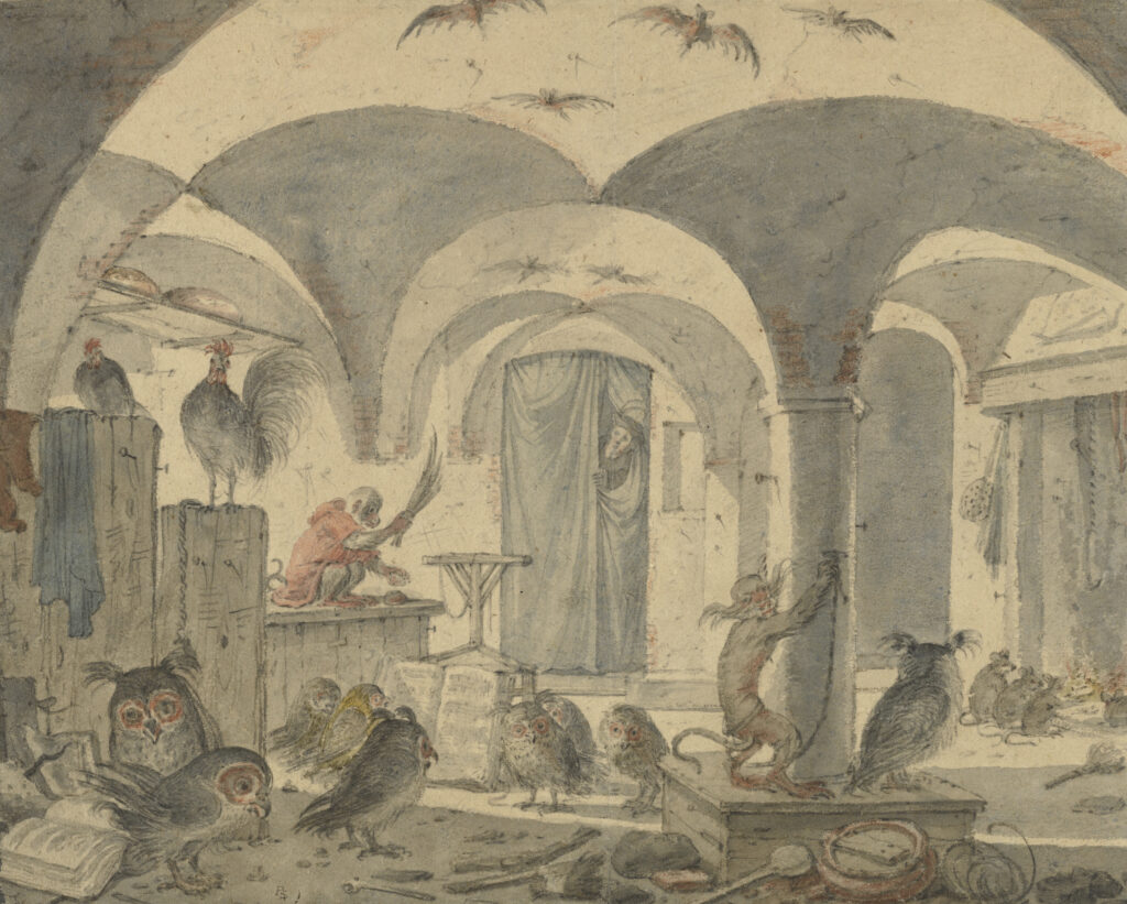 Drawing of a vaulted cellar filled with mischievous animals like bats, rats, monkeys, owls, and chickens.