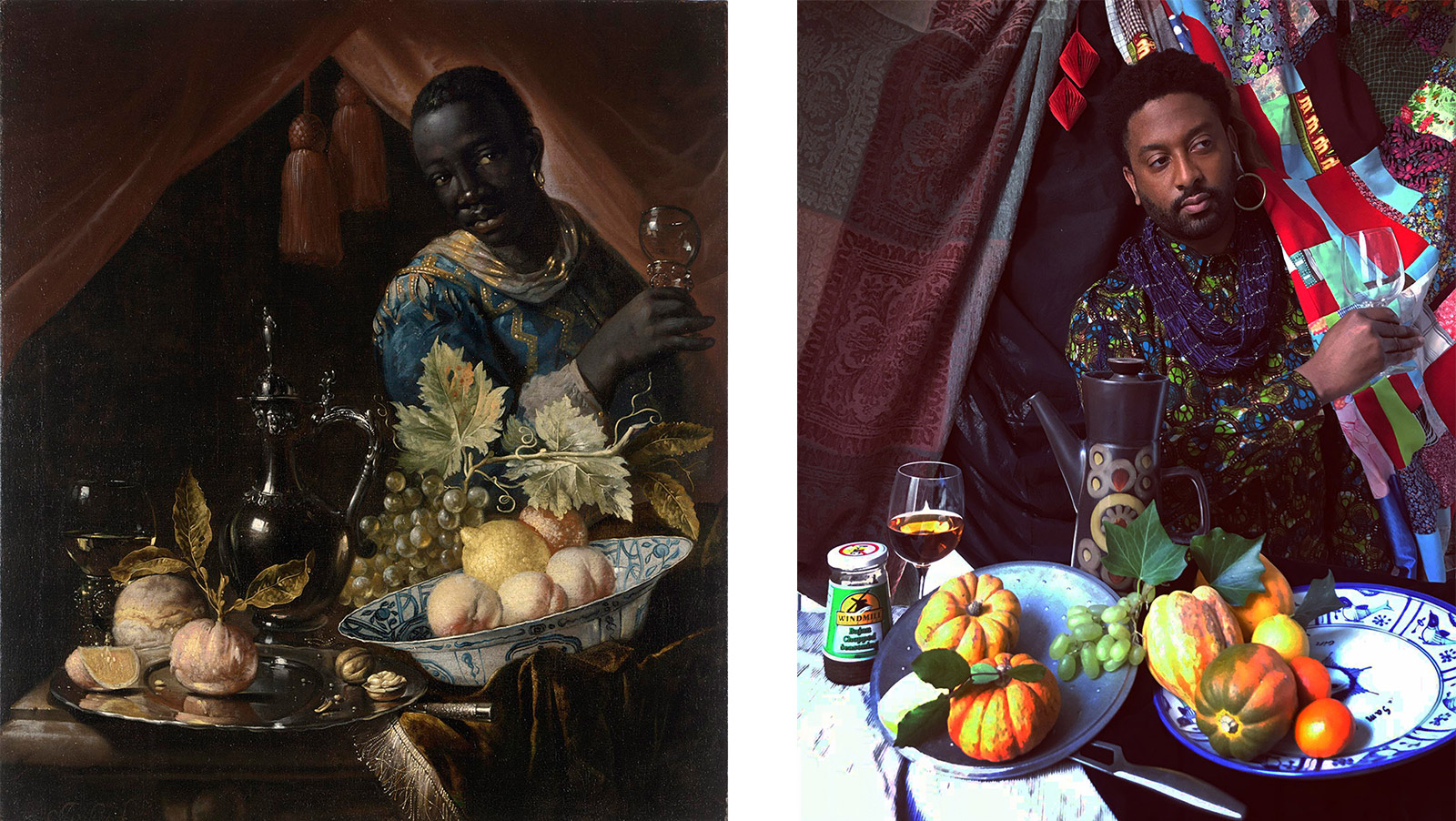Left: A dark-skinned person stands behind a table laden with fruit and a tall pitcher. Right: Brathwaite stands with a quilt hanging over his left shoulder, holding an empty wine glass. The table in front of him holds squash, tomatoes, a food jar and a glass of wine.