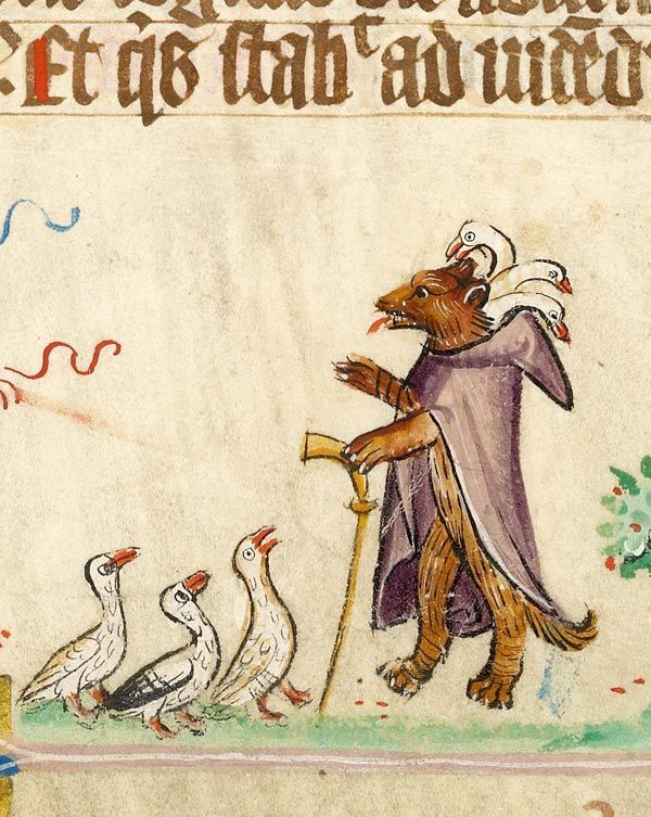 a wolf in a hooded robe lecturing to geese