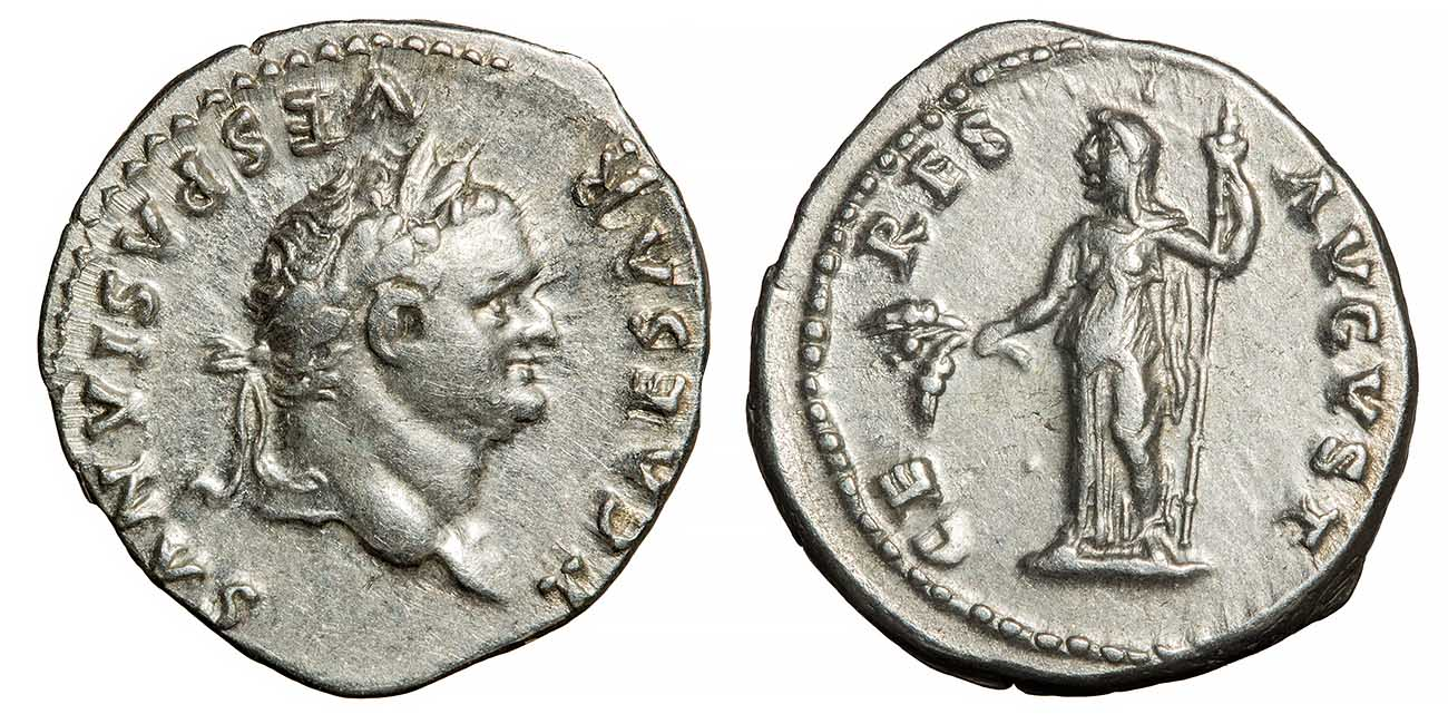 the front and back of a silver coin are side by side. The left shows a head and the right shows a body and the name ceres