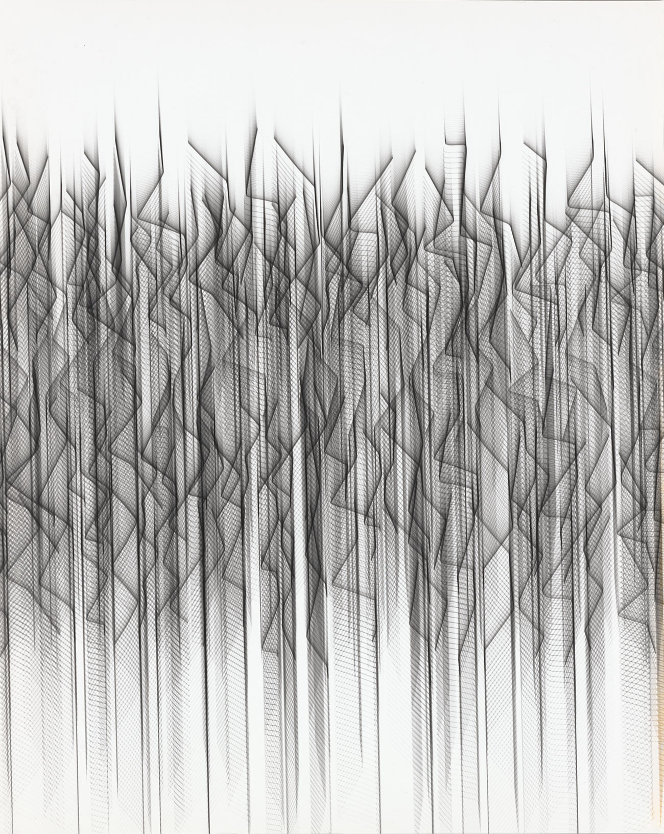 Black and white abstract of squiggly vertical lines
