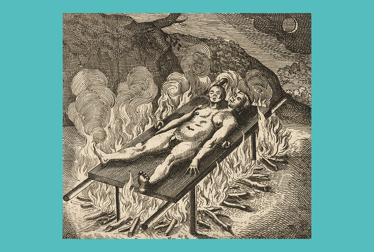 A nude body, male on the left and female on the right, lies on a burning pyre