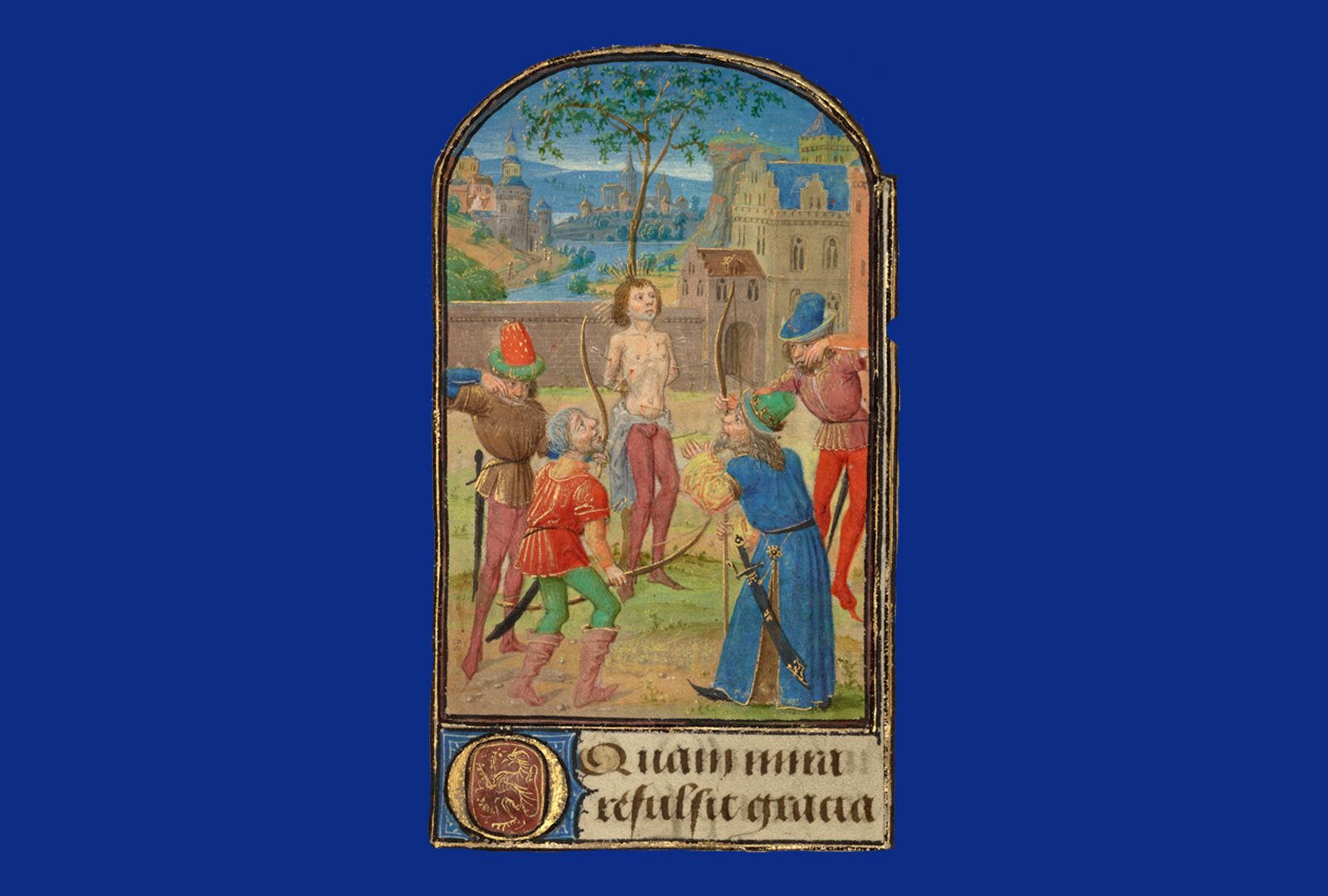 Saint Sebastian stands shirtless with arms behind him as he is shot with arrows by four people in bright colors