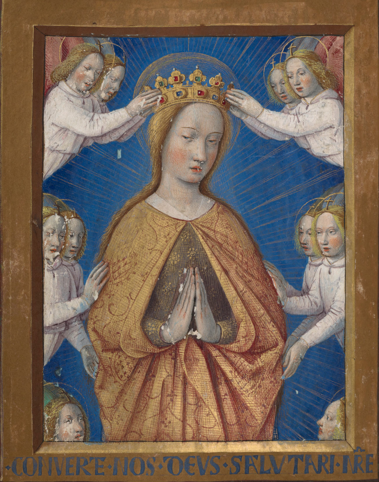 Four angels place a crown on a woman's head while six other angels look on