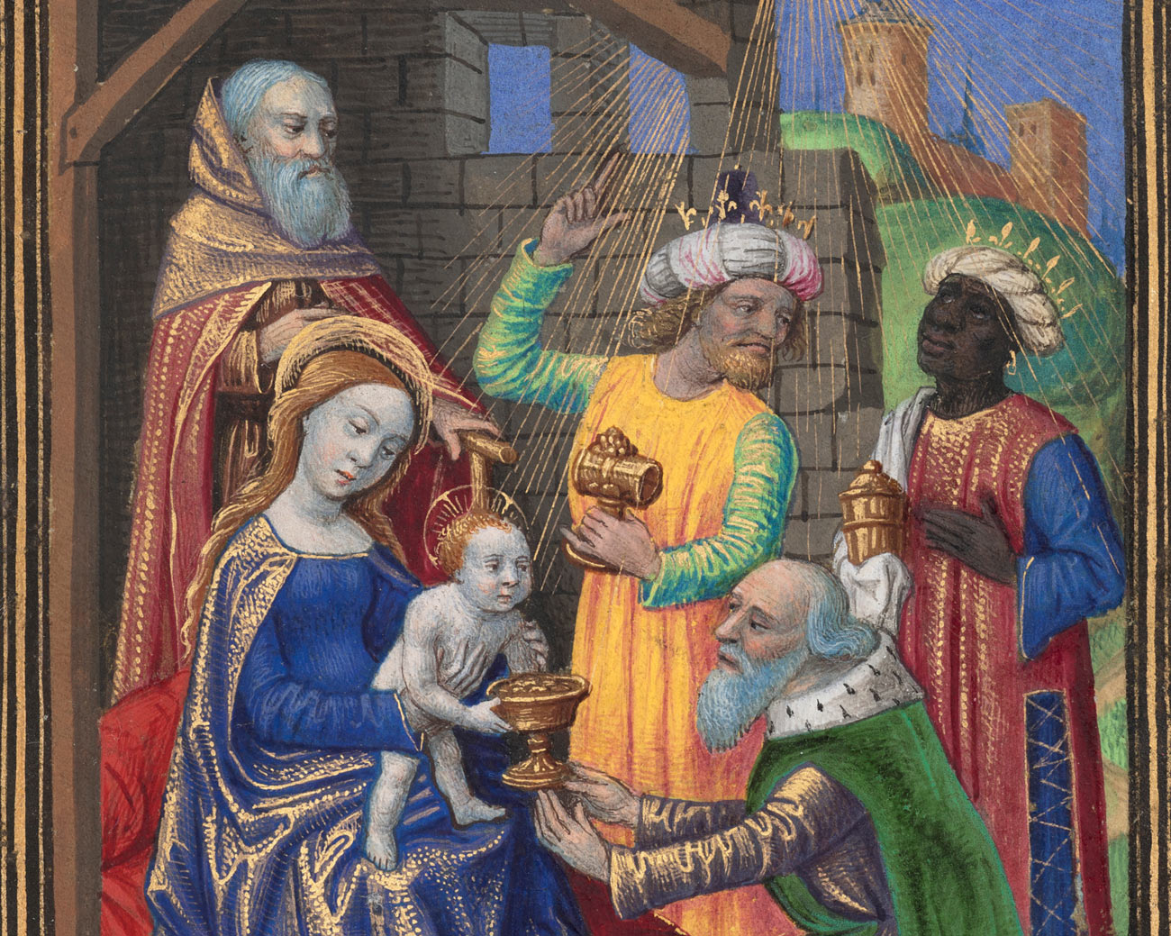 Mary holds the baby Jesus while the three kings present their gifts