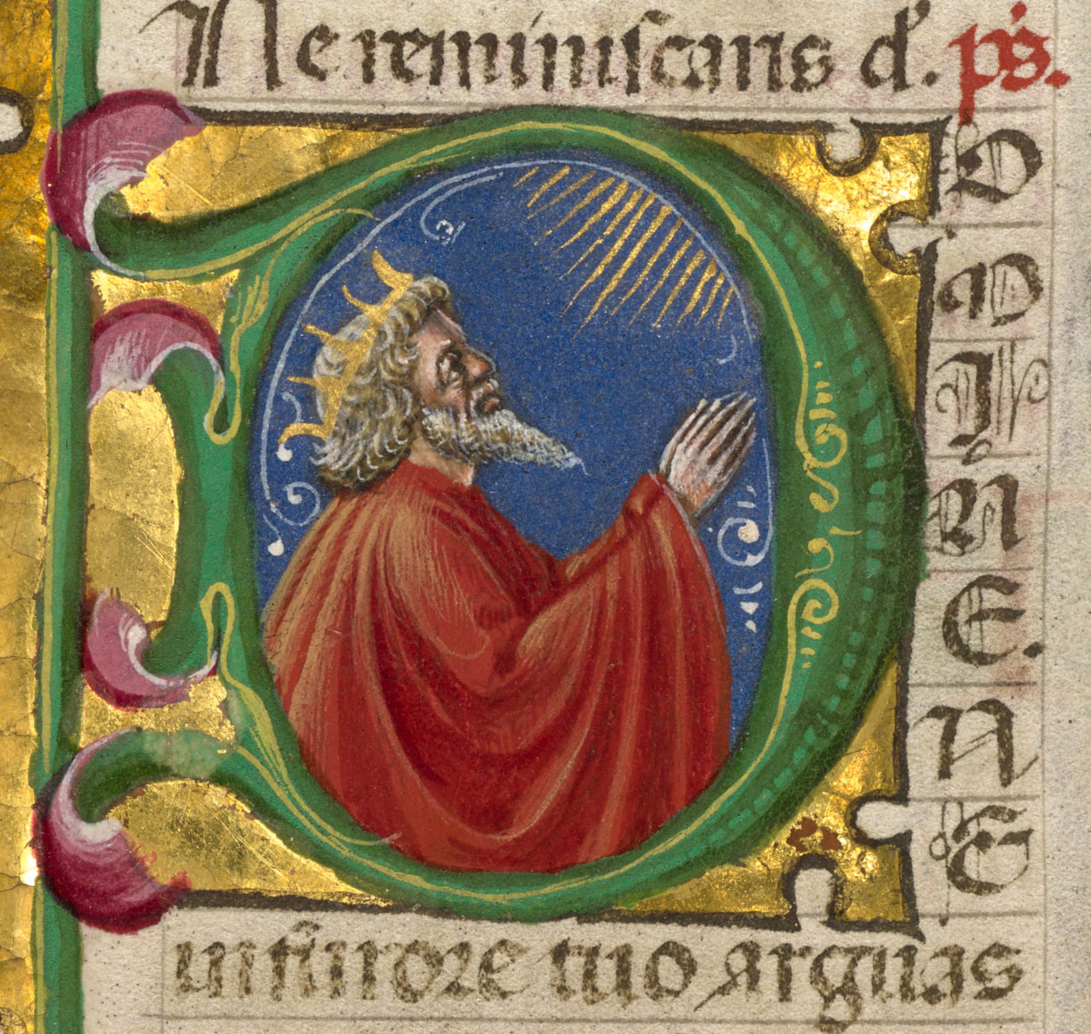 A bearded man with red robes and a crown faces upward right in supplication