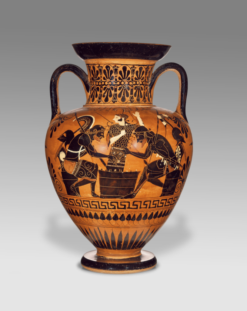 Ancient Greek vase with two handles (neck amphora) showing a black-figured painting of two men facing each other while seated at a low table with a board game between them.