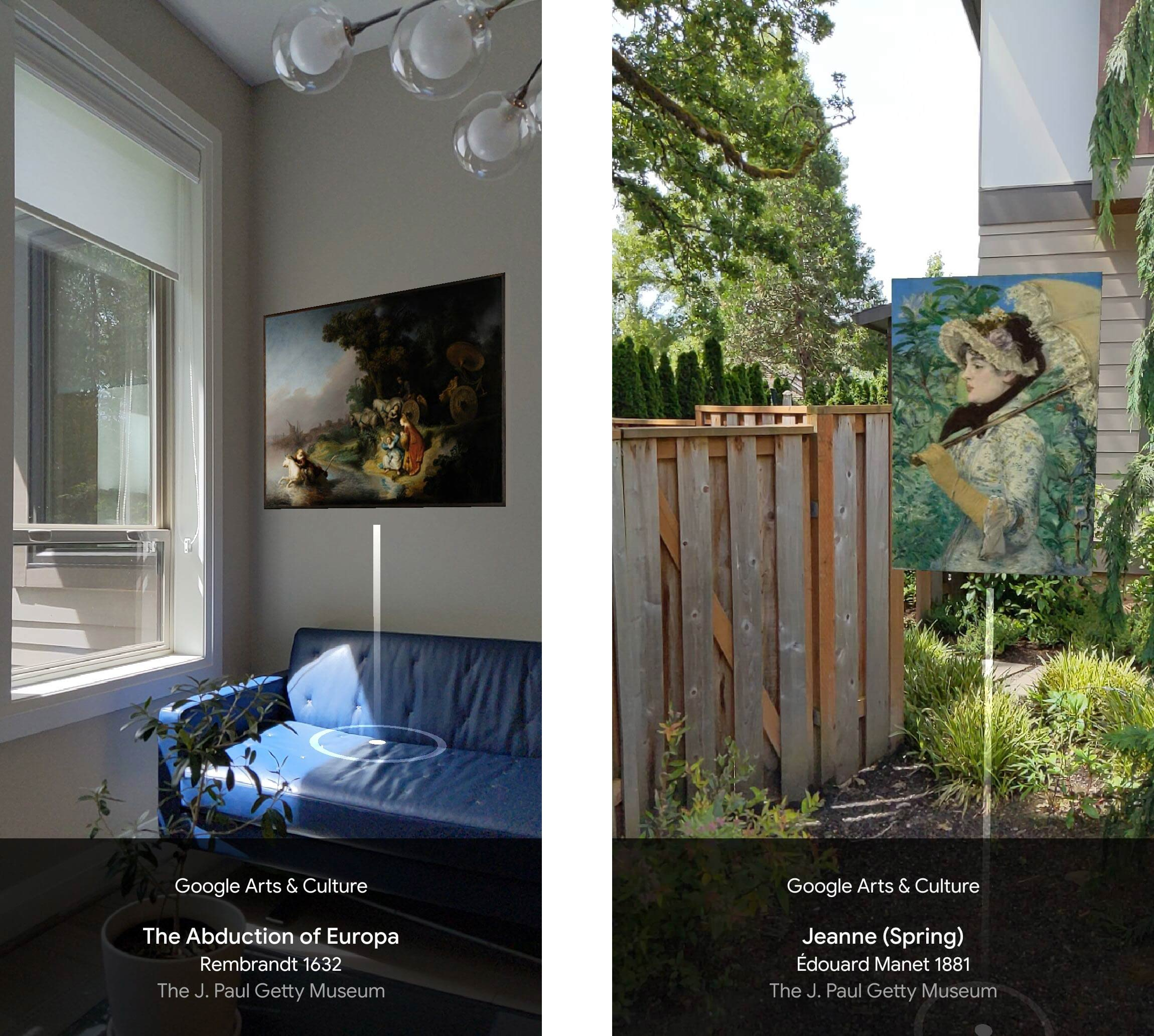 Left: Rembrandt's Abduction of Europa sits on a white wall above a blue leather couch. Right: Manet's Jeanne (Spring) floats in a weedy yard with a vertical-board, wooden fence.