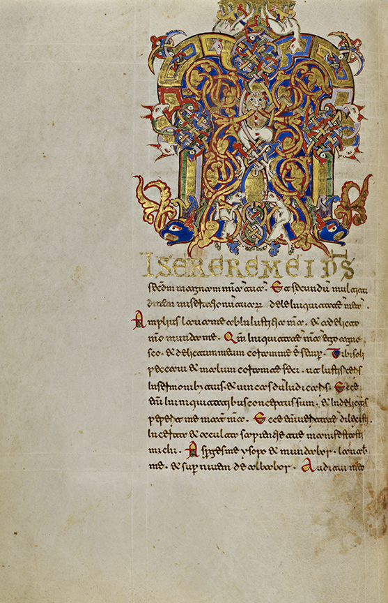Inhabited Initial M, 1153. Tempera colors, gold leaf, gold paint, and ink on parchment, 7 9/16 × 5 3/16 in. The J. Paul Getty Museum, Ms. Ludwig IX 1 (83.ML.97), fol. 171v. Digital image courtesy of Getty's Open Content Program