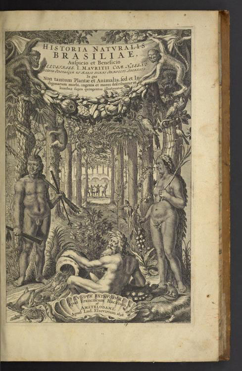 Black engraving on an old, yellowed book page featuring two naked indigenous people in a lush rainforest setting. There are animals in the trees, including monkeys and a slot. Between the two indigenous figures is a white Poseidon figure reclining on a shell.