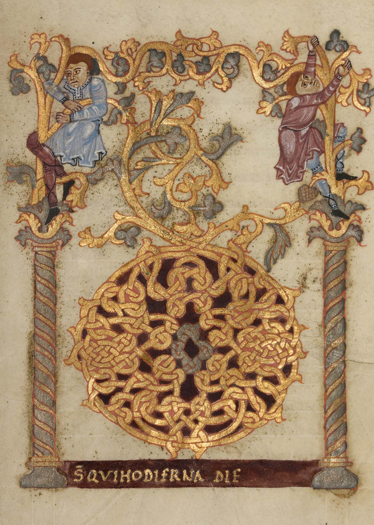 Manuscript page with intricate gold leaf vines, and two people clinging to them in the upper corners