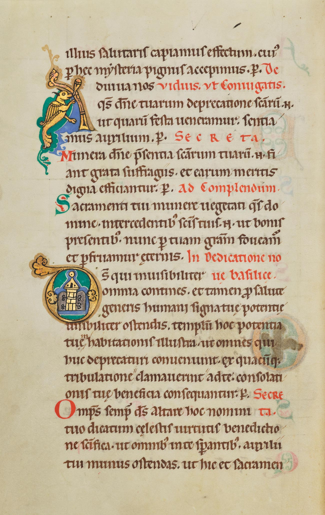 Manuscript page, all text, with illustrated initial A and initial D