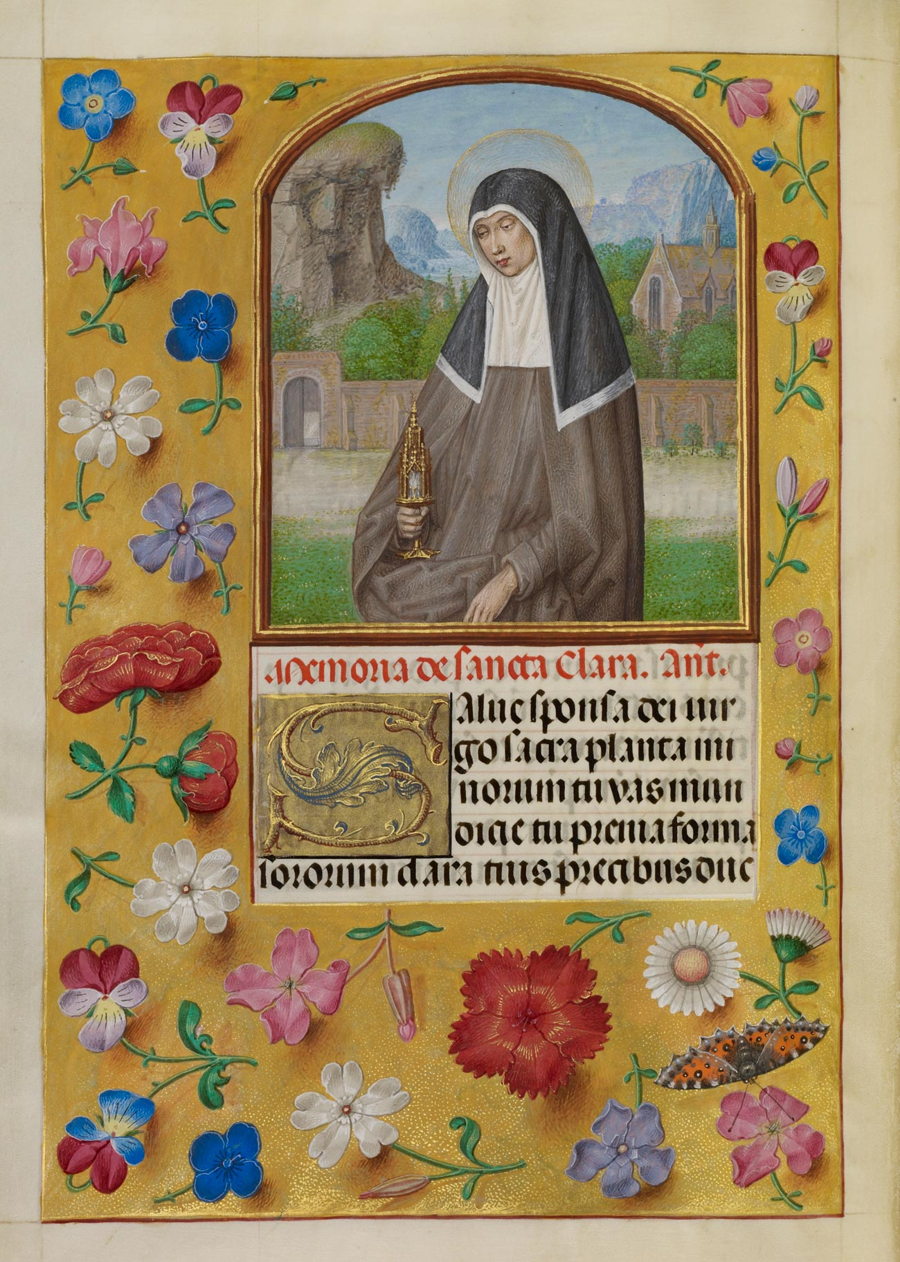Manuscript page, image of a nun in the top half, some text underneath. The rest of the page is completely filled in with gold leaf decorated with realistic depictions of flowers.