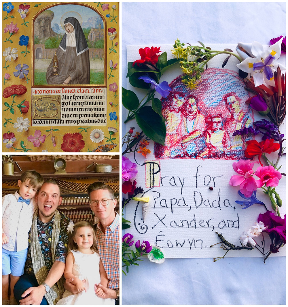 Collage: St. Clara manuscript page in top left; family of four in bottom left; entire right side is handcrafted page, bordered with real flowers, with drawing of family at top, text below that says Pray for Papa, Dada, Xander, and Eowyn.