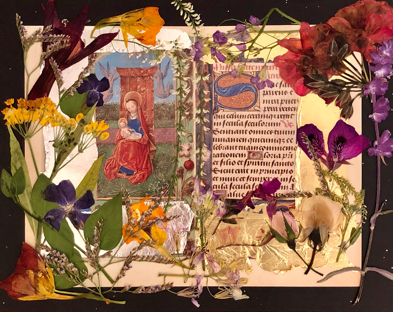 Mixed media collage with Virgin Mary holding Jesus on the left, manuscript text on the right. There is silver foil on the left side, gold foil on the right, and flowers along all the borders