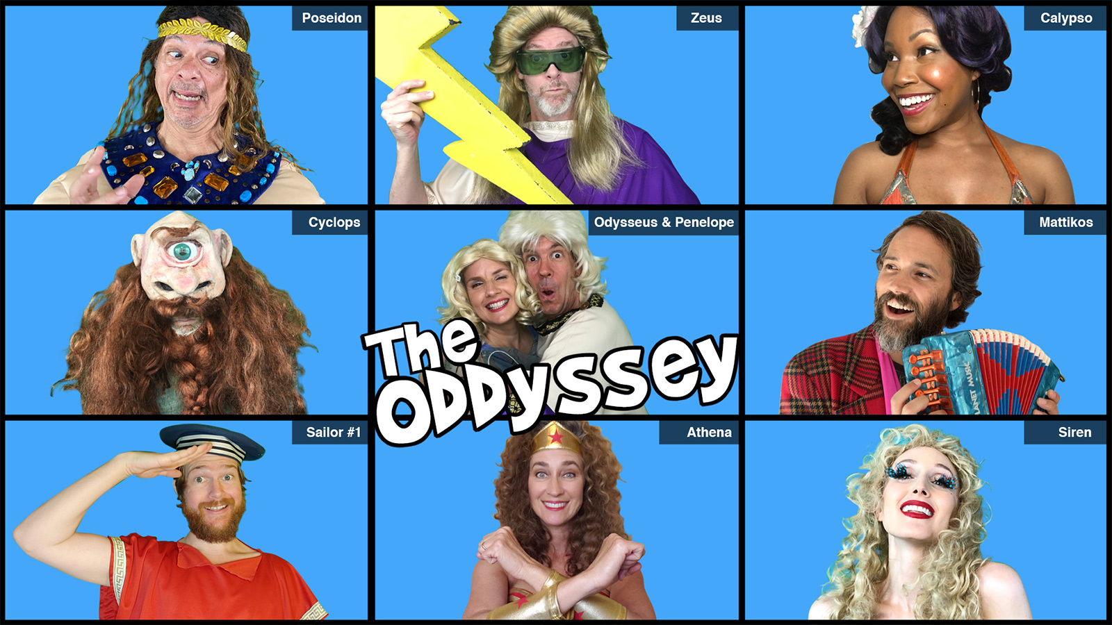 Brady Bunch style graphic showing nine cast members of The ODDyssey in a 3x3 grid on a blue background