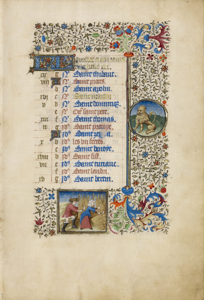 A list of Saints' days, with lines alternating blue and red text, is surrounded on three sides (top, right, and bottom) by a floral border with vines and other flowers. Within the border are two small paintings: one of a lion in a circular frame to the right of the text and the second of a man and a woman reaping wheat in a square frame at the bottom.