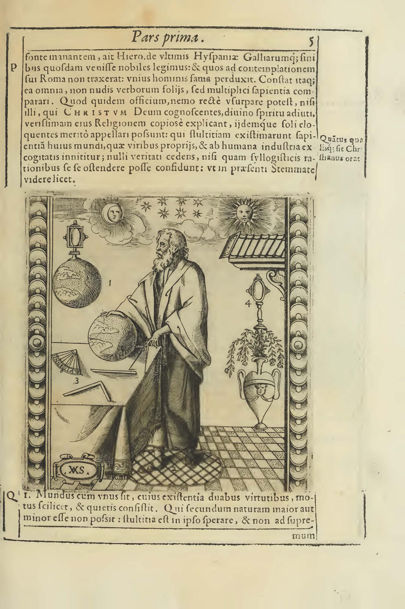 Image on a book page of a bearded, robed man standing at a table with a globe