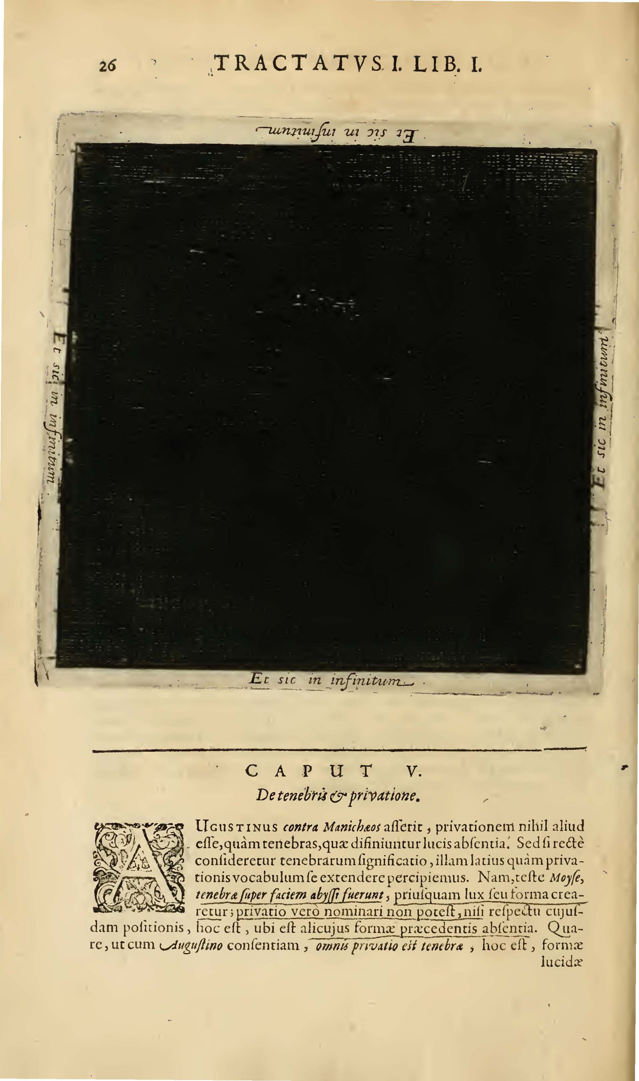 A mostly solid black square image with text. The top of the page says TRACTATVS I. LIB. I.