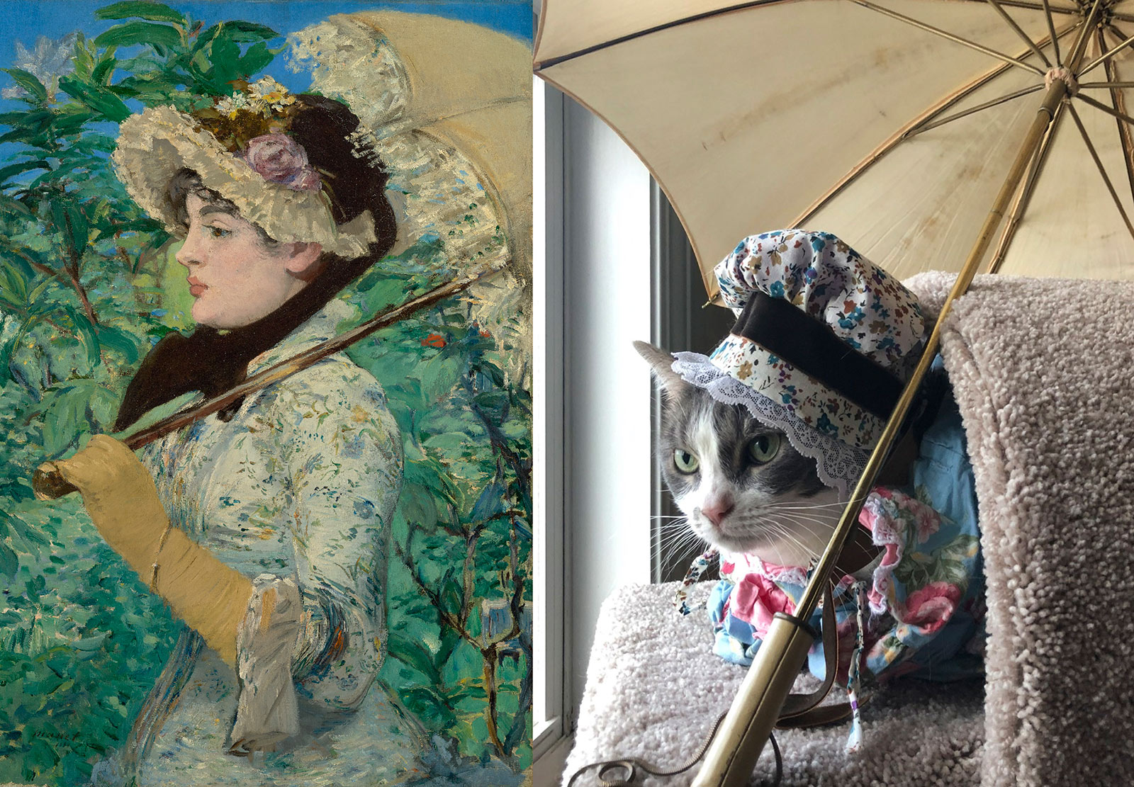 Side-by-side image showing a colorful portrait of a woman holding a parasol and a cat posed to re-create the same scene