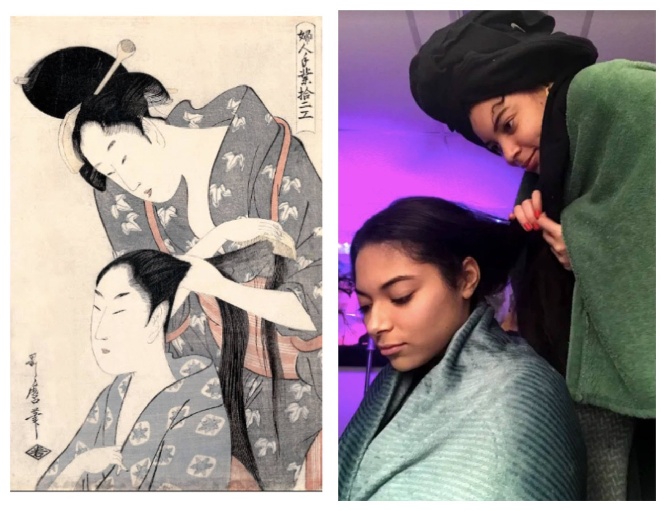 Side-by-side images showing a Japanese woodblock print of a woman combing another woman's hair, juxtaposed with a present-day photo of two women re-creating the same scene
