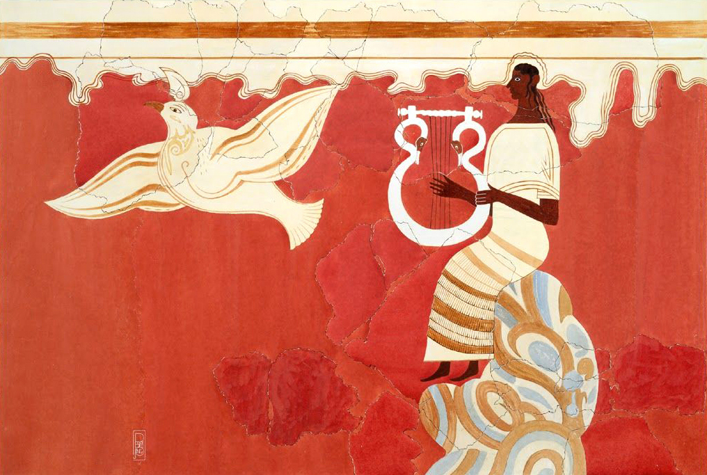 Dark-skinned woman plays a lyre as a large white bird flies nearby, on a bright red background