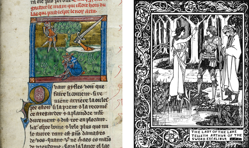 Left, an illuminated manuscript page shows an arm raising a sword out of a lake. Right, a black and white illustraion shows the Lady of the Lake talking to Arthur and another man.
