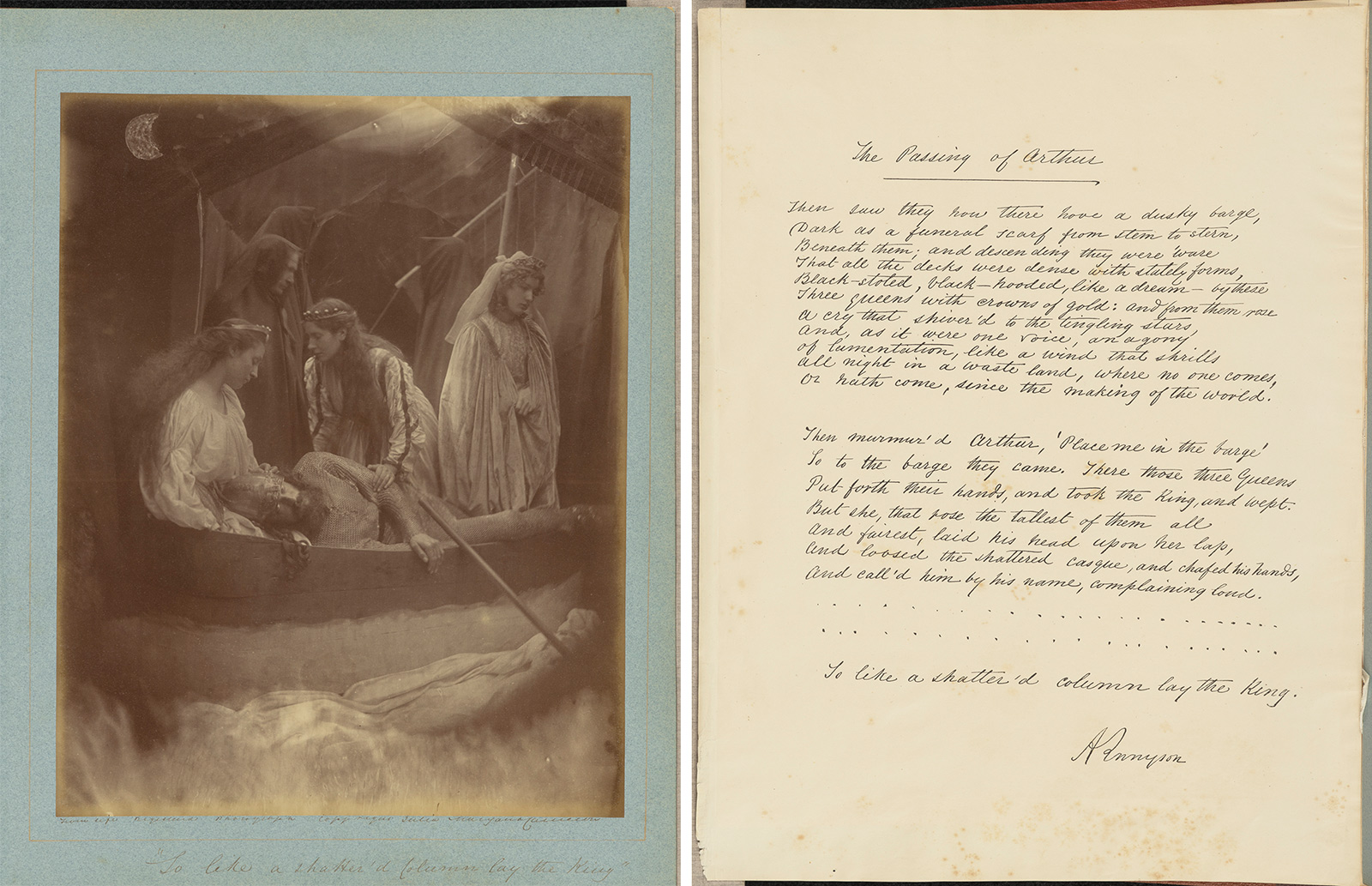 Left, Arthur's body is attended by three women in a boat. Right, a page from Idyll's of the King, titled The Passing of Arthur.