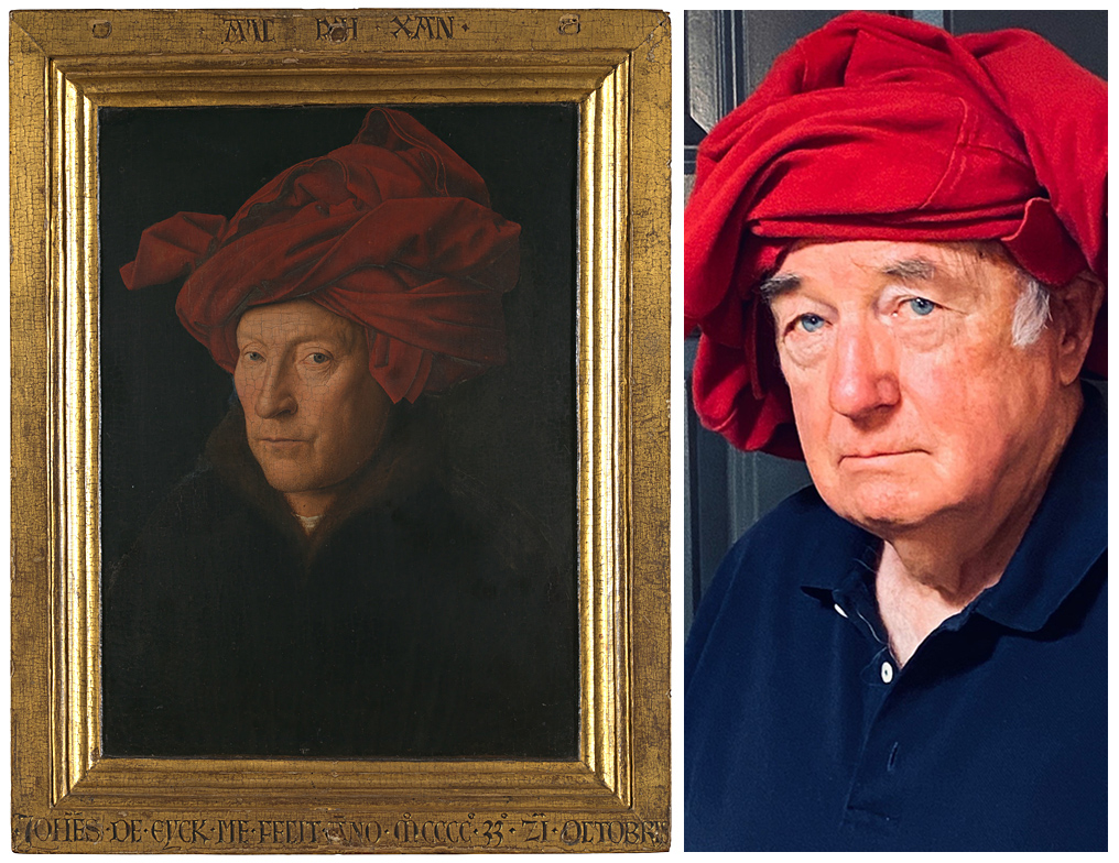Left, man in a wide red turban, with a golden frame; right, older man wearing a blue polo shirt, with a red jacket wrapped around his head