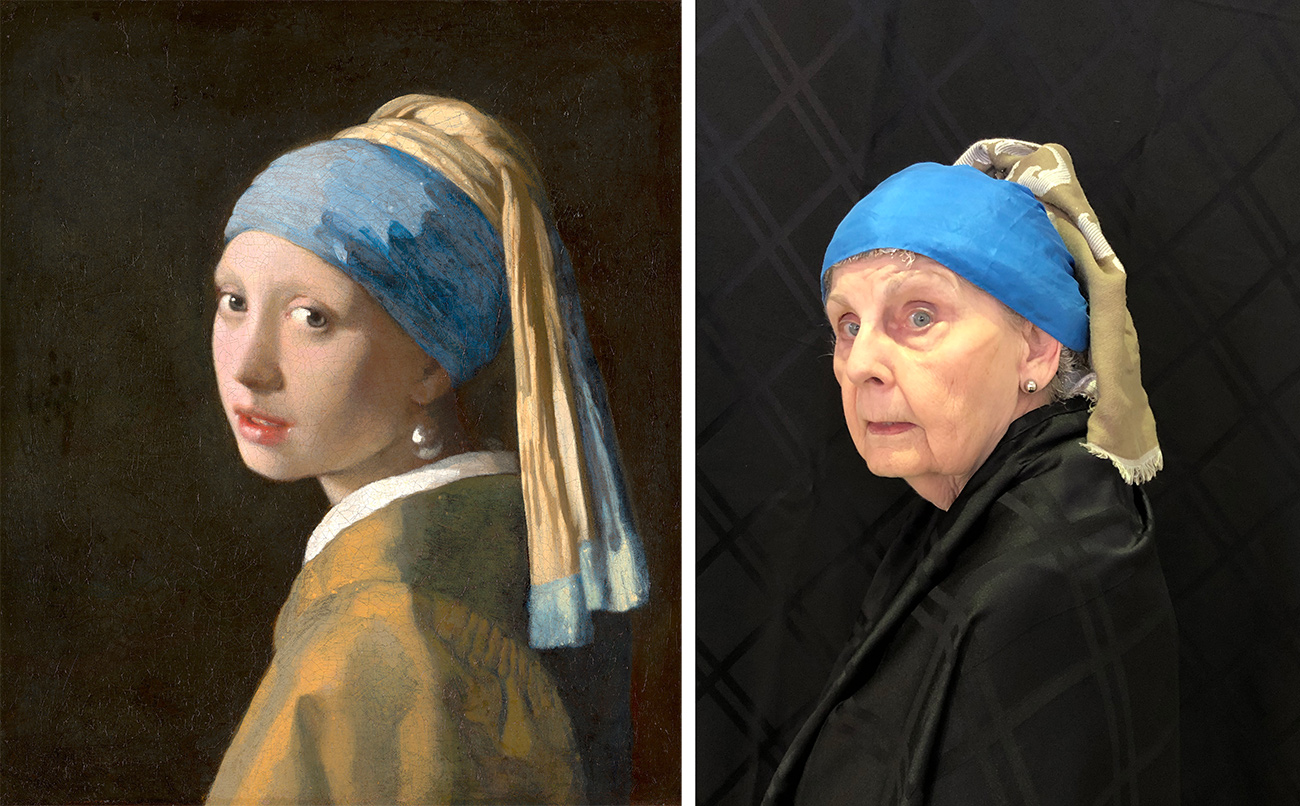 Left, girl with brown coat, white color, blue and brown head scarf, and an earring; right, older woman wearing dark coat, blue plastic on her head, and a brown fringed scarf hanging from the back.