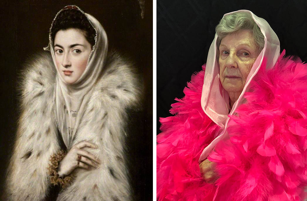 Left, woman in a white fur wrap and white kerchief over her hair; right, an older woman wrapped in a bright pink boa with an iridescent scarf over her hair