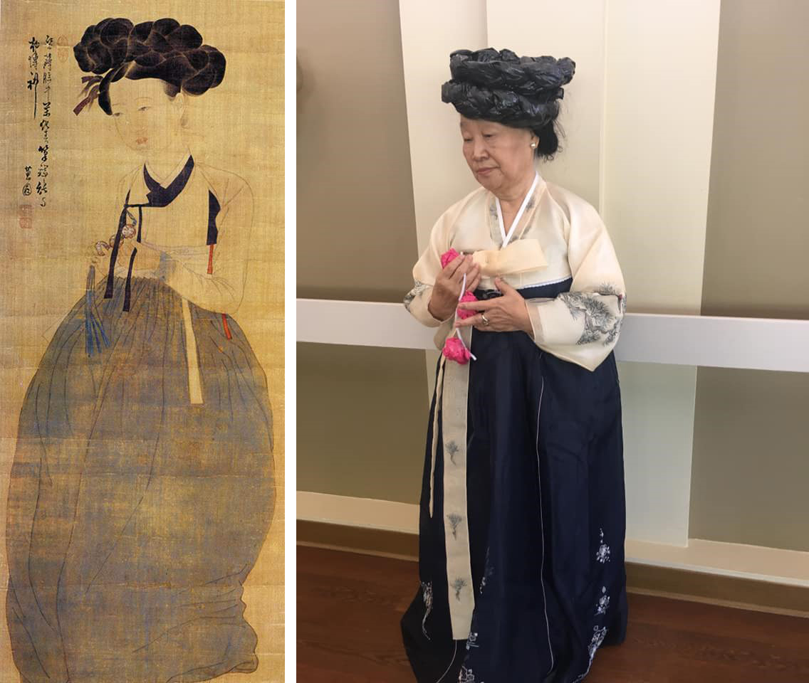 Left, a faded brown tapestry with a pale Asian woman with elaborately-braided dark hair, wearing a puffy dark skirt and white top with black trim, holding some beads; right, an older Asian woman wears a hat made of braided trash bags, and a long dress with white sleeves, embroidered with trees, and a long blue skirt. She is holding pink paper flowers.