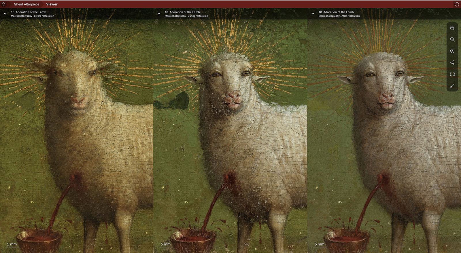 A painting of a sheep with a hole in its chest with blood streaming out into a bucket and gold streaks around its head, depicted three times: the left image is the least restored and looks less detailed, the middle is somewhat restored, and the far right is fully restored with high level of detail