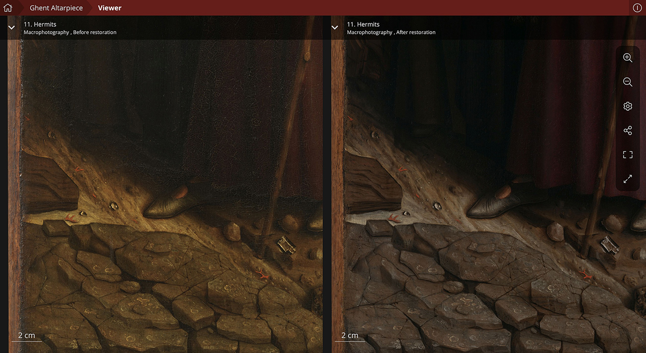 A painting of rocks on the ground and a person standing next to it, with just the shoes, bottom of his robe and a staff visible, depicted twice: on the left, a version of the painting before restoration with less vibrant details, and on the right, a restored version with sharper details and colors