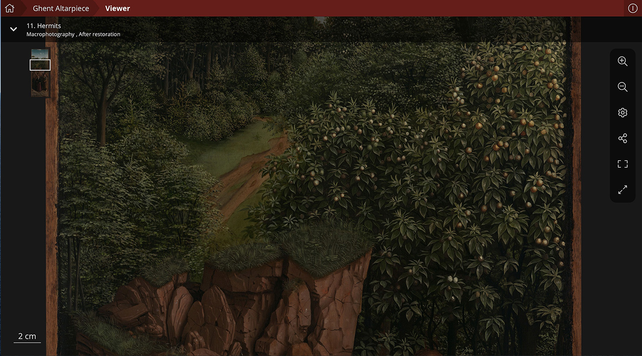 A painting of green leafy trees and a dirt road surrounded by grass