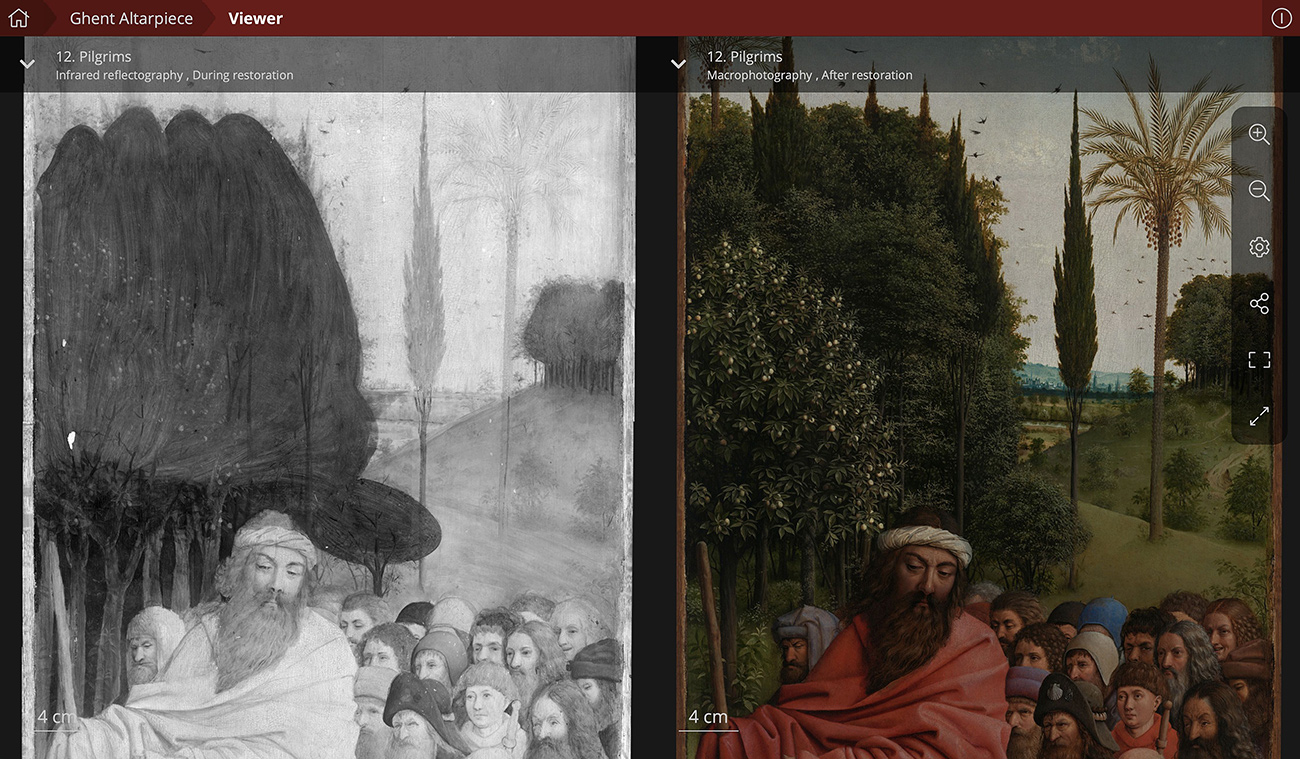 Two views of a painting depicting a bearded man leading a crowd of followers through a field of trees and grass: on the left, a black and white underdrawing, and on the right is the painted version