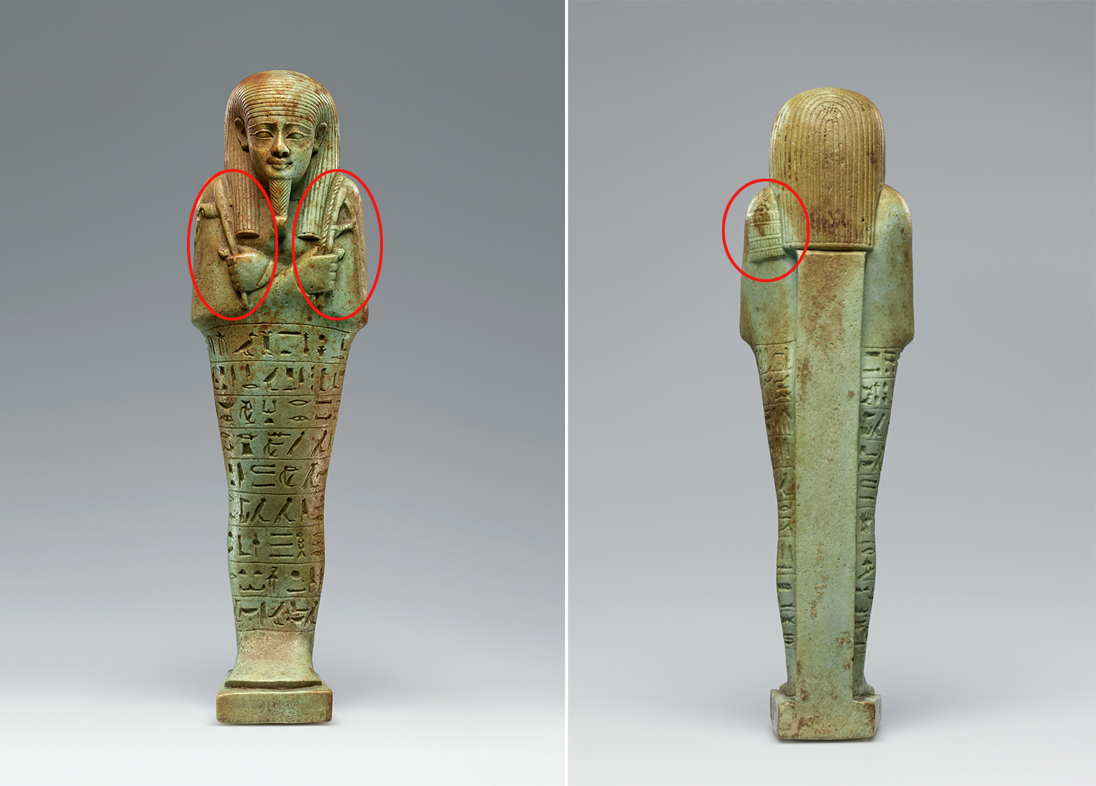 Left, front of green statue with hieroglyphics with circles on the shoulders; right, back of green statue with circle on the shoulder